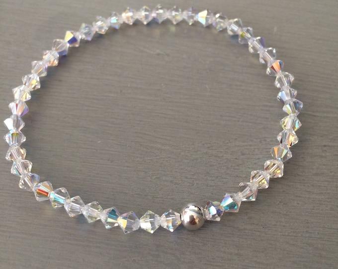 AB Swarovski crystal stretch bracelet Sterling Silver or Gold bead AB crystal stacking bracelet boho Swarovski jewellery jewelry gift