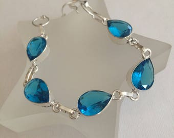 STERLING SILVER Blue Topaz Quartz CABOCHON bracelet - December Birthstone jewellery -Throat Chakra jewellery Gift