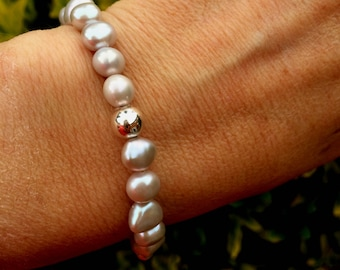 Grey  Baroque Freshwater Pearl stretch bracelet Sterling Silver bead gray pearl bracelet large Pearl jewelry stacking beaded bracelet gift