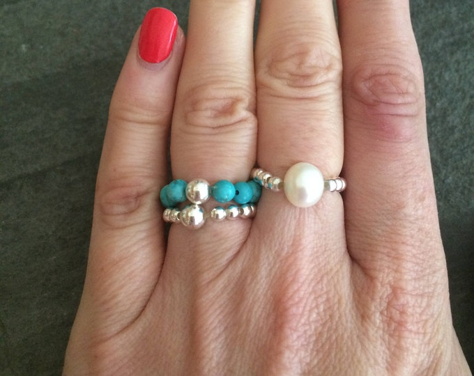 Sterling Silver TURQUOISE STRETCH ring blue gemstone bead ring stacking ring beaded ring December Birthstone jewelry healing jewellery gift