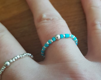 Tiny Sterling Silver Turquoise ring blue Heishi gemstone bead stretch ring Boho stacking ring Turquoise December Birthstone jewelry gift