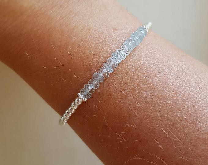 AQUAMARINE stretch Bracelet Sterling Silver skinny tiny blue gemstone bead Bracelet stacking March Birthstone jewellery chakra Yoga gift