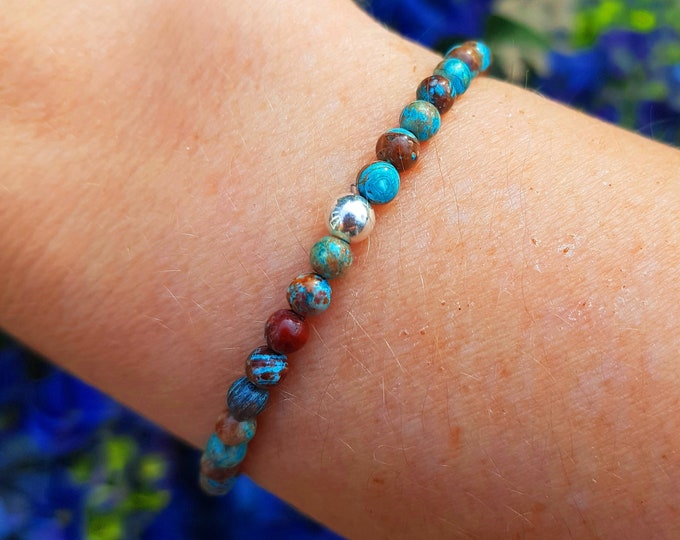 Blue Jasper Bracelet Sterling Silver stretch real blue gemstone bead Bracelet simple 4mm tiny bracelet small Beaded healing jewellery gift