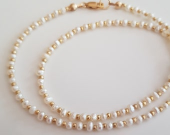 Tiny seed Pearl choker necklace 18K Gold Fill or Sterling Silver