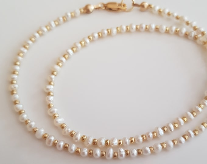 Tiny 3mm white seed Pearl necklace or choker with 18K Gold Fill or Sterling Silver clasp