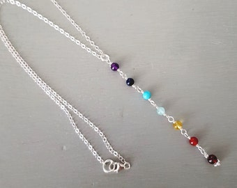 7 CHAKRA necklace lariat Sterling Silver or Gold Fill tiny gemstone bead necklace small beaded YOGA mala Chakra jewelry gift