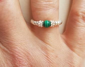 Malachite ring STERLING Silver stretch ring green gemstone bead ring Malachite Jewellery beaded stretch ring stacking ring teenage girl gift