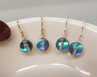 Mystic blue Quartz earrings Sterling Silver / 18K Gold Fill small grey Quartz gemstone bead drop earrings Boho Mystic Quartz jewellery gift