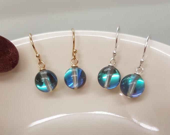 Tiny blue grey Quartz drop earrings Sterling Silver or 18K Gold Fill small Mystic Quartz gemstone bead earrings Boho jewelry jewellery gift