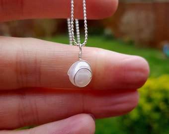 Baroque Freshwater Pearl necklace Sterling Silver wire wrapped white pearl drop necklace Pearl jewellery bridesmaid jewelry gift for her mum