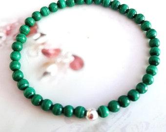 MALACHITE BRACELET Sterling Silver or Gold Fill tiny 4mm green gemstone bead stretch bracelet Malachite jewelry beaded chakra jewellery