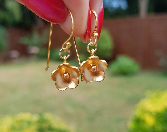Tiny 24K Gold flower earrings  simple Gold earrings dainty Karen Hill Tribe jewelry gift for her