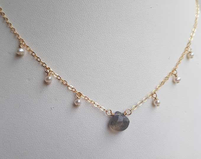Tiny Labradorite choker necklace 18K Gold Fill or Sterling Silver real Freshwater seed pearls and gray grey Moonstone jewellery Jewelry gift
