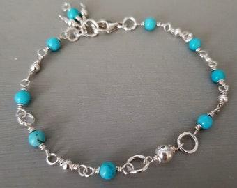 Sterling Silver TURQUOISE BRACELET wire wrapped tiny 4mm blue Turquoise gemstone bead bracelet honeymoon jewelry Boho jewellery gift Chakra