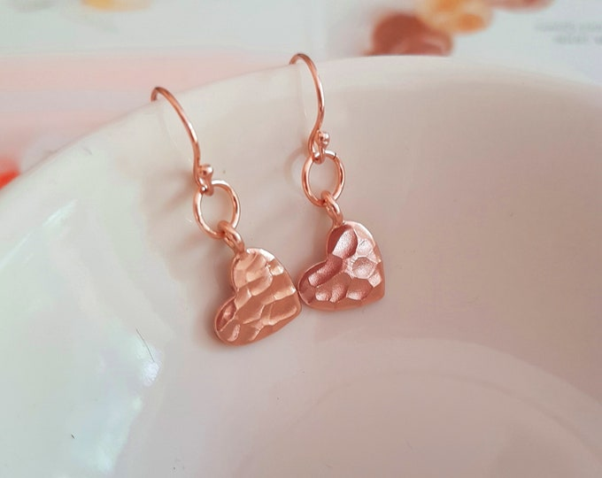 Small 24K Rose Gold hammered heart earrings Rose Gold fill heart earrings simple Gold earring dainty gold drop earrings jewelry gift for her