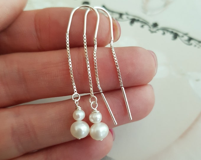 Freshwater pearl threader earrings simple Sterling Silver white pearl drop earrings long real pearl earrings jewelry gift boho jewellery