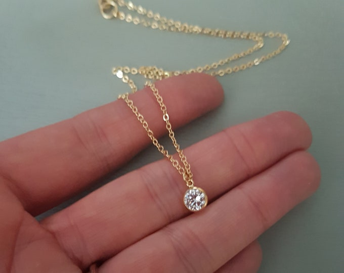 Tiny 18K Gold fill CZ diamond necklace choker clear Cubic Zirconia pendant stacking Gold layering jewellery minimalist bridal Jewelry gift