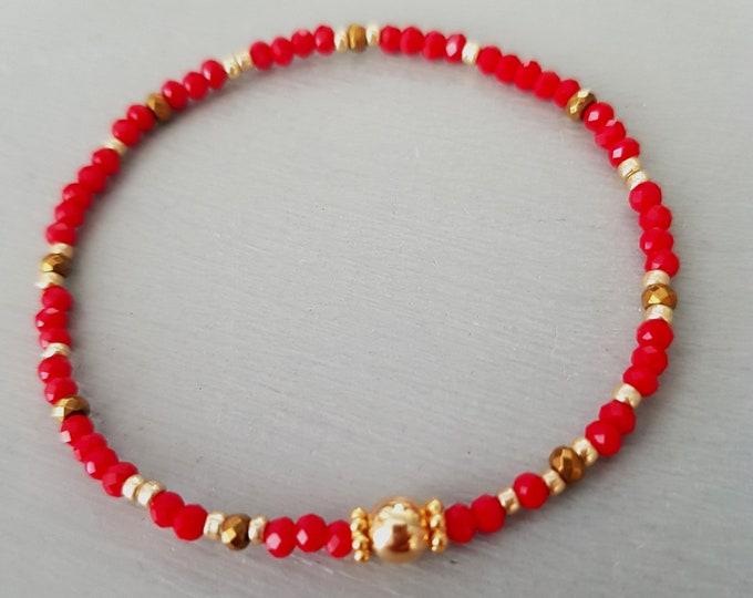 Tiny Red crystal stretch bracelet 14K Gold Fill 3mm small ruby beaded bracelet stacking bracelet skinny seed bead bracelet boho jewelry gift