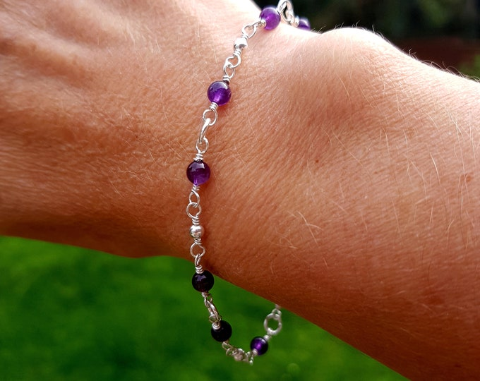 Sterling Silver AMETHYST Bracelet tiny 4mm purple gemstone Bead Bracelet beaded wire wrapped February Birthstone jewellery gift yoga jewelry