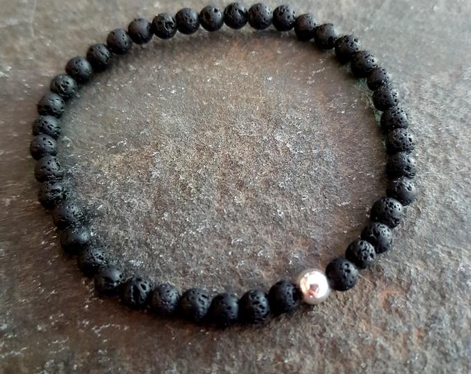 BLACK LAVA stretch Bracelet Sterling Silver Black tiny 4MM gemstone bead Bracelet small Beaded Bracelet chakra jewelry oil diffuser gift