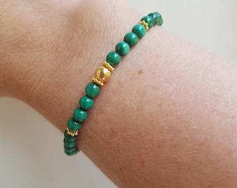 Gold Fill Malachite Bracelet or Sterling Silver 4mm small green gemstone bead stretch bracelet Malachite jewelry beaded chakra jewellery