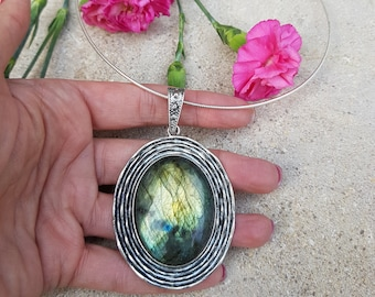 Huge Labradorite pendant on a Sterling Silver necklace choker Boho necklace Festival jewelry