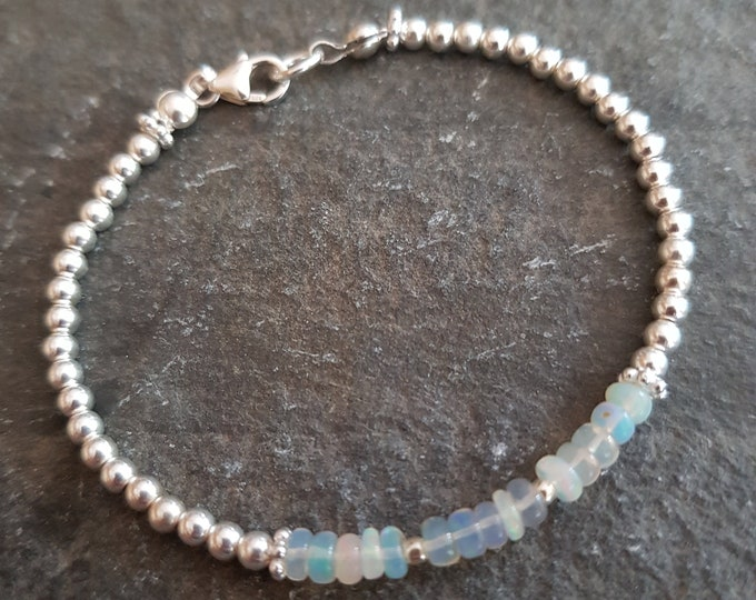 Ethiopian OPAL Bracelet Sterling Silver or Gold Fill tiny 3mm gemstone bead Bracelet OCTOBER Birthstone jewellery gift AAA Welo Opal jewelry