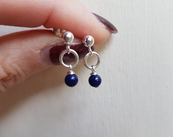 Tiny blue Lapis earrings Sterling Silver stud small Lapis Lazuli drop earrings gemstone jewelry September Birthstone jewellery gift for girl