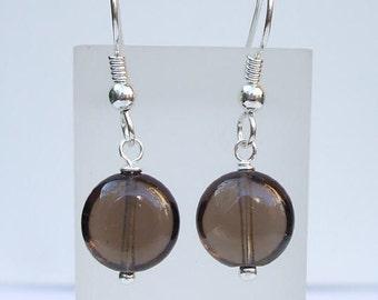 Simple Smoky Quartz earrings - Sterling Silver or Gold Fill brown gemstone earrings