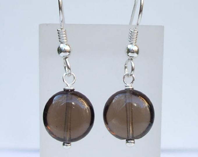 Simple Smoky Quartz earrings - Sterling Silver or Gold Fill brown gemstone earrings