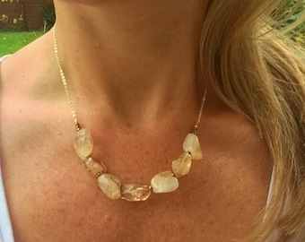 Raw Citrine necklace  choker 18K Gold Filled - November Birthstone jewellery gift