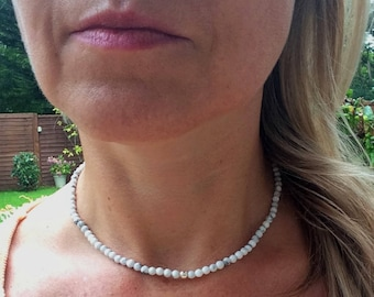White Howlite beaded necklace choker in Sterling Silver or Gold Fill bead 3rd eye Chakra