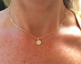 Tiny 24K Gold Fill White Druzy choker necklace small white gemstone pendant simple gold layering necklace dainty jewelry jewellery gift