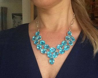 Silver Blue Topaz Quartz statement necklace - December Birthstone jewellery -ONE-OFF