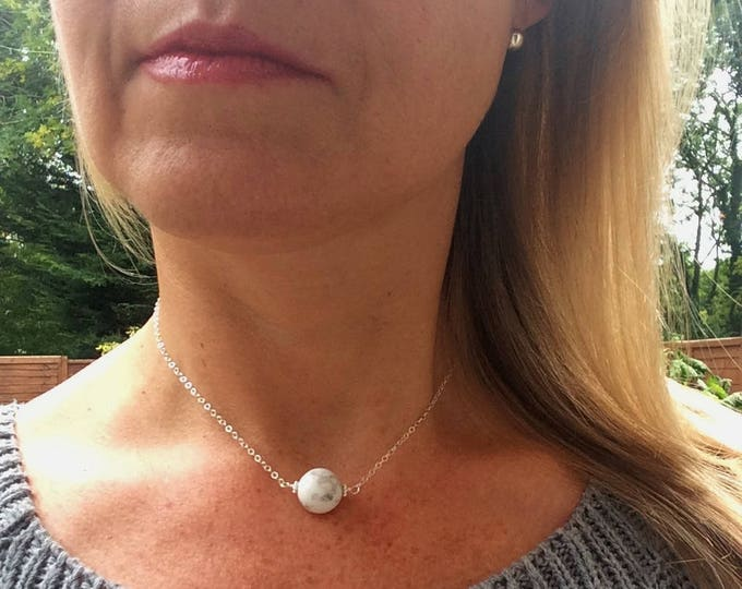 White Howlite necklace choker Sterling Silver or Gold fill white gemstone bead necklace pendant necklace minimalist jewellery Chakra Jewelry