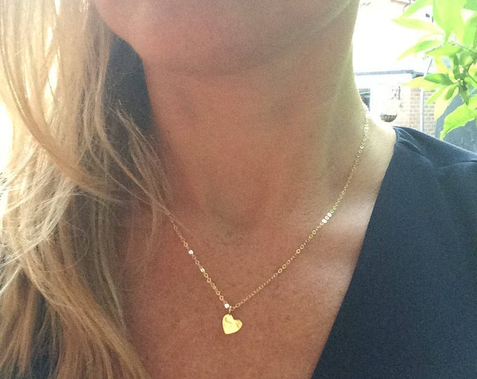 Tiny 24K Gold heart necklace, small hammered heart Gold filled necklace simple Gold heart choker dainty gold pendant necklace jewelry gift