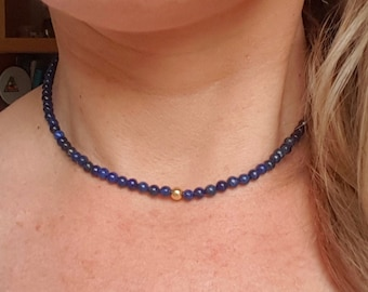 Blue Lapis Lazuli choker necklace Sterling Silver Gold Fill tiny 4mm blue gemstone bead necklace beaded September Birthstone jewellery gift