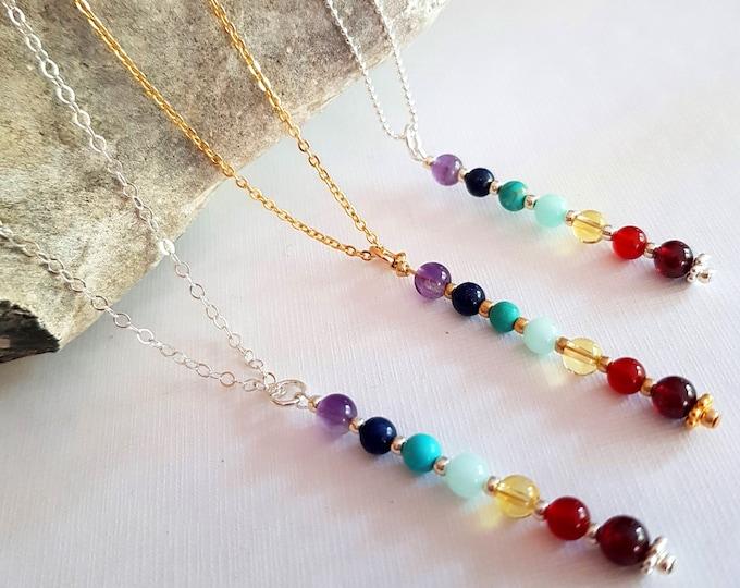 Designer 7 CHAKRA pendant necklace or choker Sterling Silver or 18K Gold Fill -Chakra jewelry - Boho jewellery gift