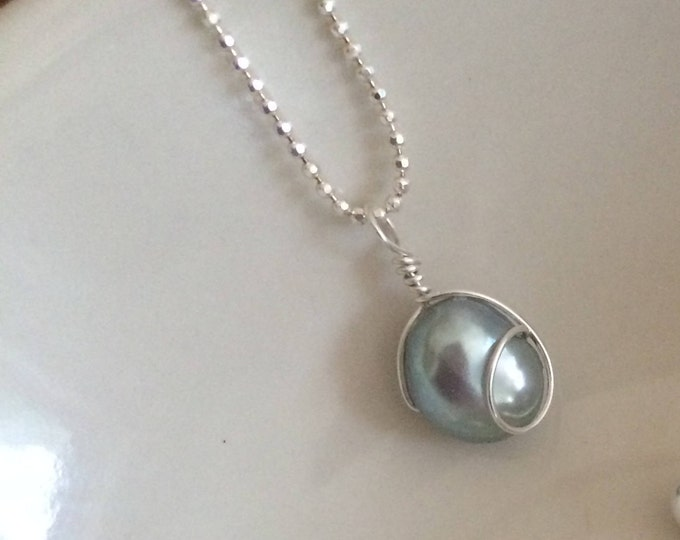 Grey Baroque Pearl necklace - Sterling Silver