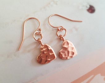 24K Rose Gold heart earrings small Gold filled hammered heart earrings simple Gold earrings Rose gold heart earrings jewelry gift for her