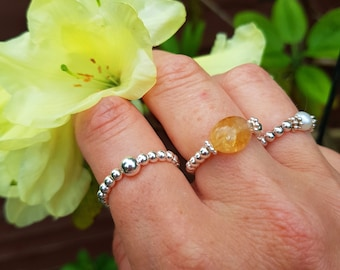 Sterling Silver Citrine stretch ring - November Birthstone jewellery - Chakra  jewelry gift