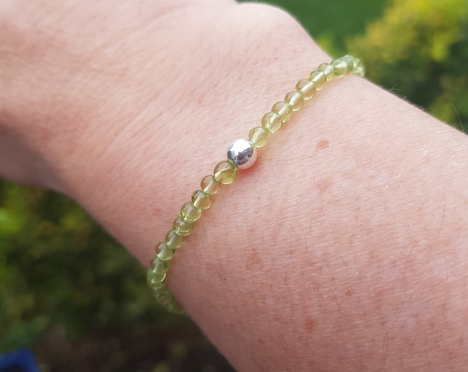 PERIDOT Stretch Bracelet Sterling Silver or Gold Fill tiny 3mm green gemstone bead bracelet healing jewellery August Birthstone jewelry gift