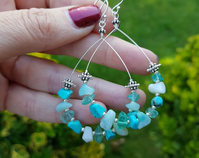 Turquoise Apatite and Amazonite earrings Sterling Silver hoop large teardrop multi gemstone earrings honeymoon jewelry beach jewellery gift