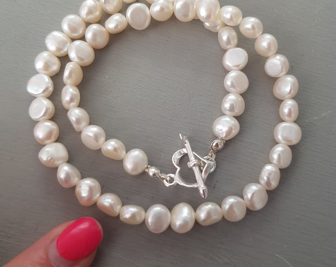 White Baroque Freshwater Pearl choker necklace Sterling Silver heart clasp large pearl necklace REAL white Pearl jewellery gift for her mum