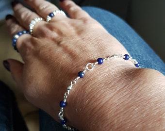 Blue LAPIS LAZULI Bracelet Sterling Silver 4mm tiny gemstone Bead Bracelet beaded wire wrap September Birthstone jewelry gift healing yoga