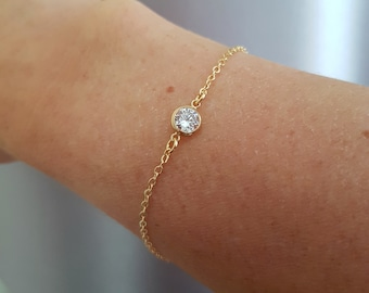 Tiny 18K Gold fill CZ diamond bracelet clear Cubic Zirconia bracelet stacking layering jewellery minimalist solitaire bridal Jewelry gift