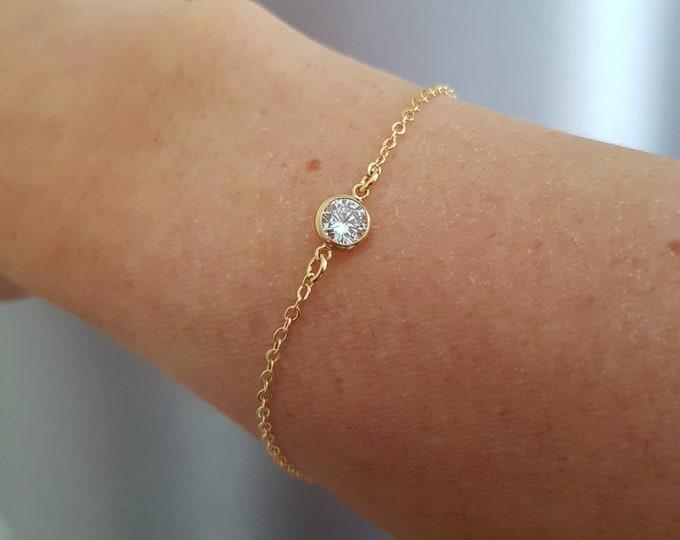 Tiny 18K Gold fill CZ diamond bracelet clear Cubic Zirconia bracelet stacking layering jewellery minimalist solitaire bridal Jewelry gift