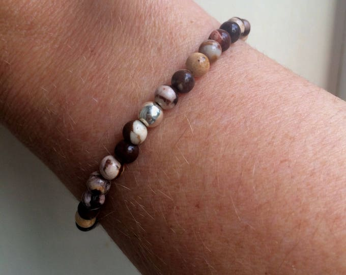 Brown Jasper stretch Bracelet Sterling Silver bead bracelet 4mm tiny gemstone Bracelet simple Beaded healing Zebra Jasper Chakra jewelry