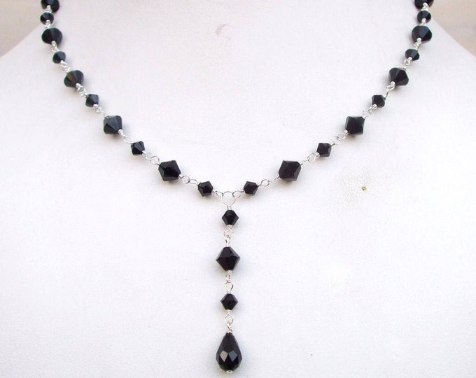 Black Swarovski crystal necklace Sterling Silver or Gold wire wrapped black teardrop necklace Y necklace Swarovski jewellery jewelry gift