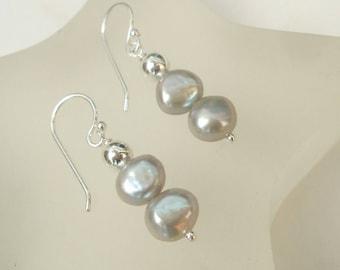Grey Freshwater pearl earrings Sterling Silver gray pearl drop earrings, double pearl earrings Baroque pearl earrings Silver pearl jewellery